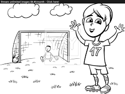 boy playing soccer coloring page vector yayimages com