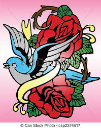 bird rose tribal tattoo vectors illustration search clipart