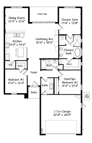 house plan house plans one level plan 3 bedrooms 2 car garage 1