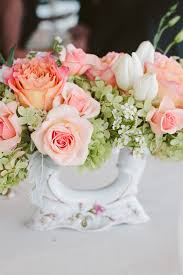Flowers Decor Peach And Green Flowers In Vintage Vase Reception Decor