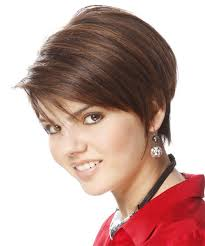 tucked behind the ear haircuts short straight formal hairstyle with side swept bangs light brunette