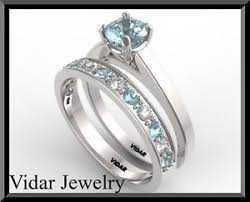 aquamarine wedding rings diamond and aquamarine wedding ring set half eternity set ebay