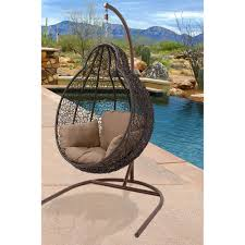 Outdoor Furniture Cushions Walmart by Hanover Egg Swing04 Outdoor Wicker Rattan Hanging Egg Chair Swing
