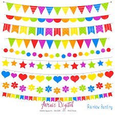Flag Banner Clip Art Bunting Banner Clipart Scrapbook Printable Rainbow Banners