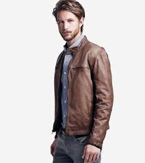 mens leather moto jacket cole haan vintage lamb moto jacket in brown for men lyst