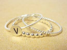 Initials Ring Stackable Rings Sterling Silver Stacking Ring Set Initial Ring