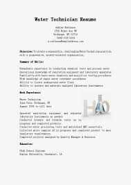 Technician Resume Sample by Resume Samples Water Technician Resume Sample