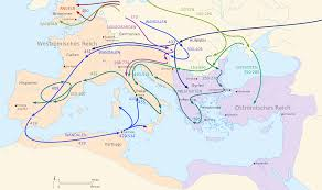 Roman Map Late Roman Empire Migration Period Barbarian Invasion Schematic