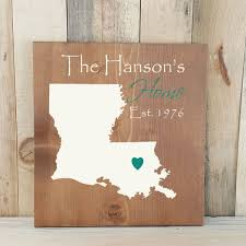state shaped gifts louisiana primitive state shaped family sign personalized state