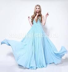 Light Blue Chiffon Dress Lupita Nyong Light Blue Oscar Red Carpet Prom Dress Plunging V Cut