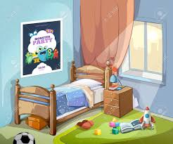 childrens bedroom interior in cartoon style with football ball childrens bedroom interior in cartoon style with football ball and toys vector illustration stock vector