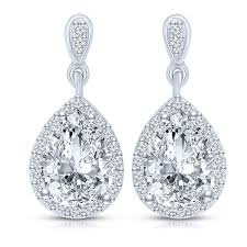 drop earrings collette z sterling silver clear cubic zirconia pear drop earrings