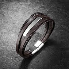 bracelet bangle men images Fashion multilayer leather bracelet stainless steel bracelet jpg