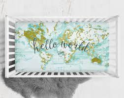 world map crib sheet etsy