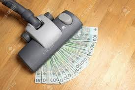 Vaccuming Vacuuming Money Polish Money Pln Currency Stock Photo Picture