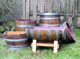 wine barrel wood planter garden pinterest backyard walkway