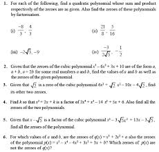 class 10 important questions for maths u2013 polynomials aglasem schools