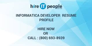 Informatica Mdm Resume Informatica Developer Resume Profile Hire It People We Get It Done
