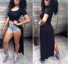 new 2015 celebrity women shirt dresses high side splits maxi