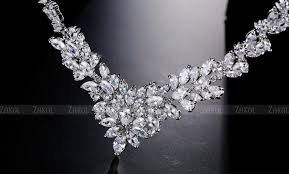 cubic zirconia necklace sets images White gold plate marquise stone connect flower cubic zirconia jpg