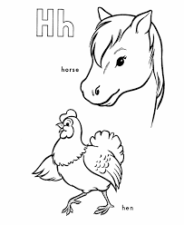 abc alphabet coloring sheets horse hen honkingdonkey