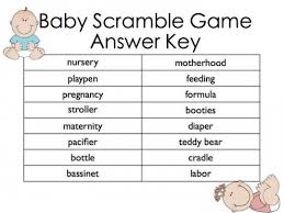 Free Baby Shower Scramble Games - shower games templates free