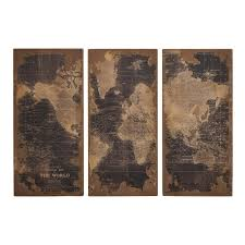 woodland imports 14800 assorted map wood wall panel set of 3