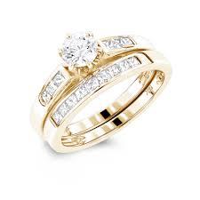 14k gold princess cut and engagement ring set 1 1ct - 14k Gold Wedding Ring Sets