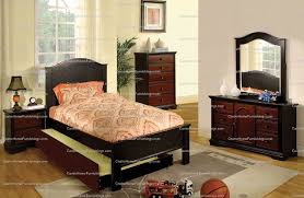 Bed With Pull Out Bed Size Bed Pull Out Trundle Mackenzie Cherry And Black Finish