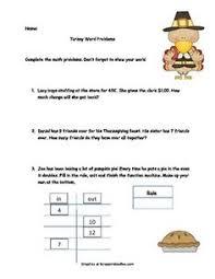 shopping for thanksgiving math activity grades 2 4