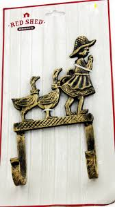 red shed metal wall hook assortment ranch decor geese birds farm