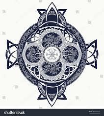 celtic cross tattoo dragons celtic tree stock vector 550933933