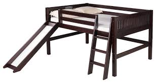 camaflexi full low loft bed with slide mission headboard
