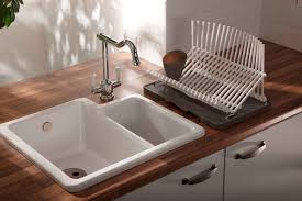 Kitchen  White Porcelain Double Bowl Kitchen Sink With Stainless - Kitchen sink with drying rack