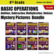 4th grade basic operations mystery pictures coloring worksheets