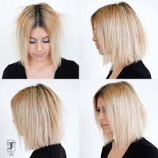 dark roots blonde hair women s slightly disheveled blunt shoulder length bob on blonde