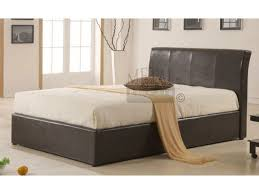 metal beds texas brown faux leather ottoman storage bed
