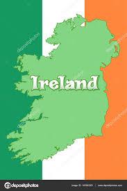 Flag Of Ireland Map Of Ireland On The Background Of The Flag Of Ireland Irish