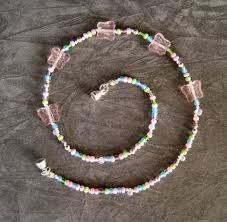 bead necklace clasp images Kid 39 s beaded necklace pink glass silver jewelry by elsa jpg
