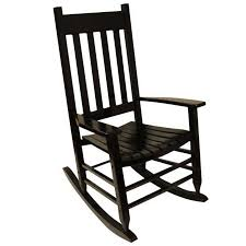 Patio Rocking Chairs Wood Shop Garden Treasures One Painted Black Wood Slat Seat Outdoor
