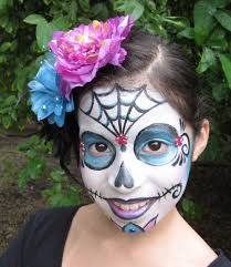 Skeleton Face Painting For Halloween by She Wanted Us To Paint Our Faces Like Sugar Skulls From Day Of The