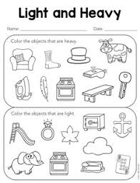 light me up math worksheet answers free heavy and light sorting activity preschool printables