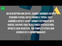 Subway Sandwich Artist Job Description Resume by What Does It Mean To Be A Sandwich Artist Youtube