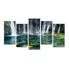waterfall home decor aliexpress com buy 5 panels canvas print waterfall and green