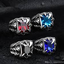 blue steel rings images Cool dragon claw ring with red blue black stone stainless steel jpg