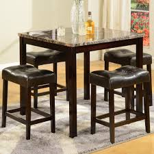 crown mark kinsey 5 piece faux marble counter table u0026 upholstered