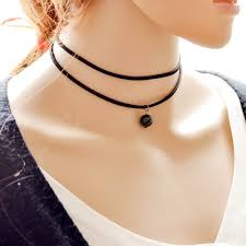 black charm necklace images Wholesale double layer faux leather with black charm choker jpg