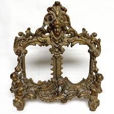 sale vintage brass cherub ornate double picture frame