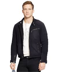 polo ralph lauren knit moto jacket in black for men lyst