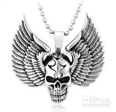 skull pendant necklace images Wholesale wing skull pendant necklace jewelry stainless steel jpg